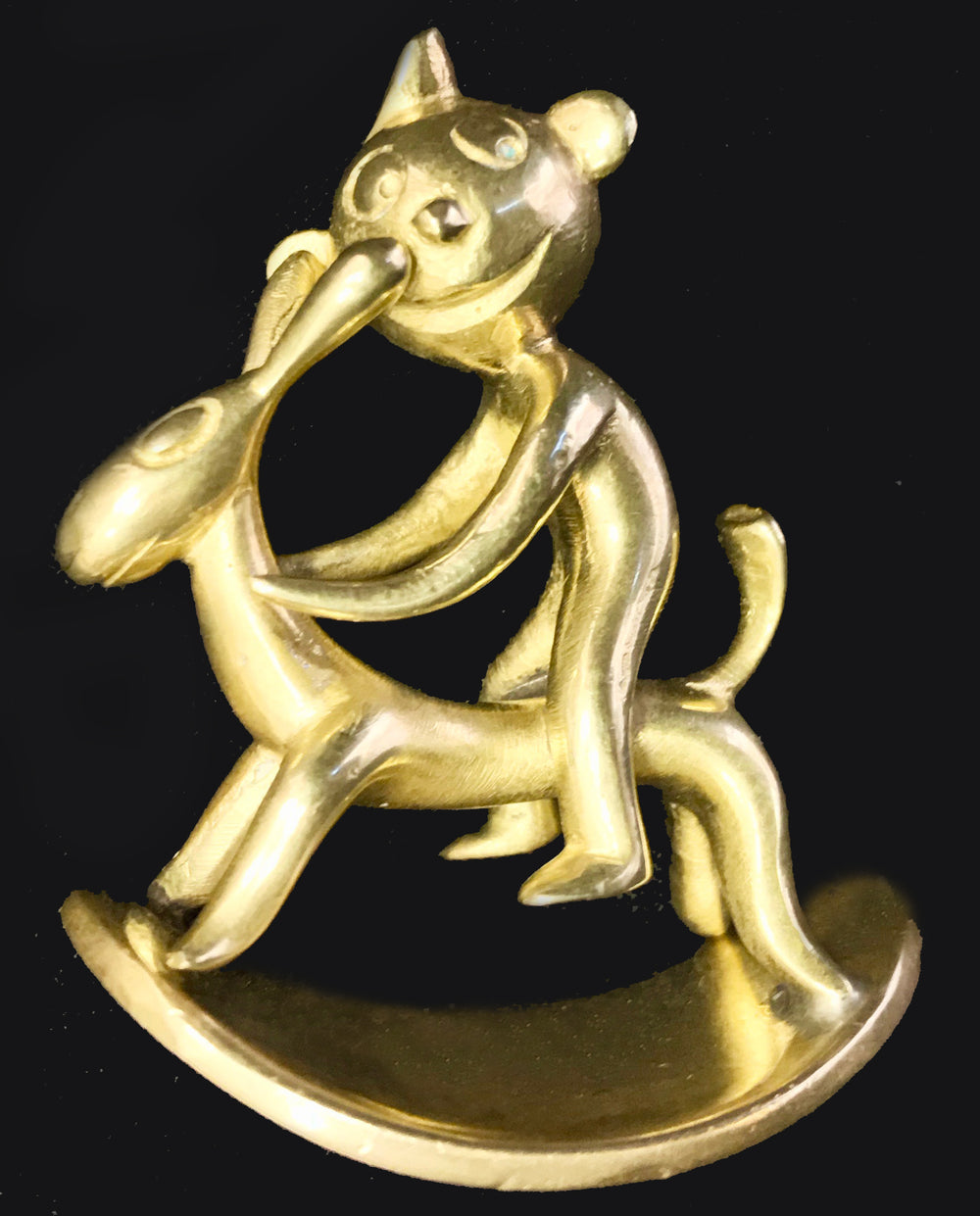Carl Hagenauer Brass Monkey Riding a Rocking Rabbit - appleboutique-com