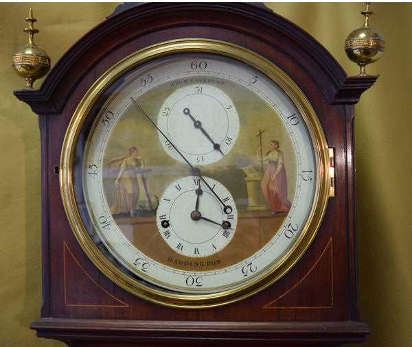 Longcase clock in mahogany c.1800 by Adam Cockburn of Haddington, Scotland.