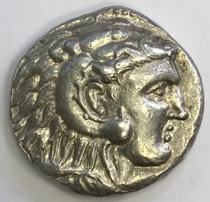 Ancient Greek Silver Tetradrachm Coin of Alexander the Great, 323 BC