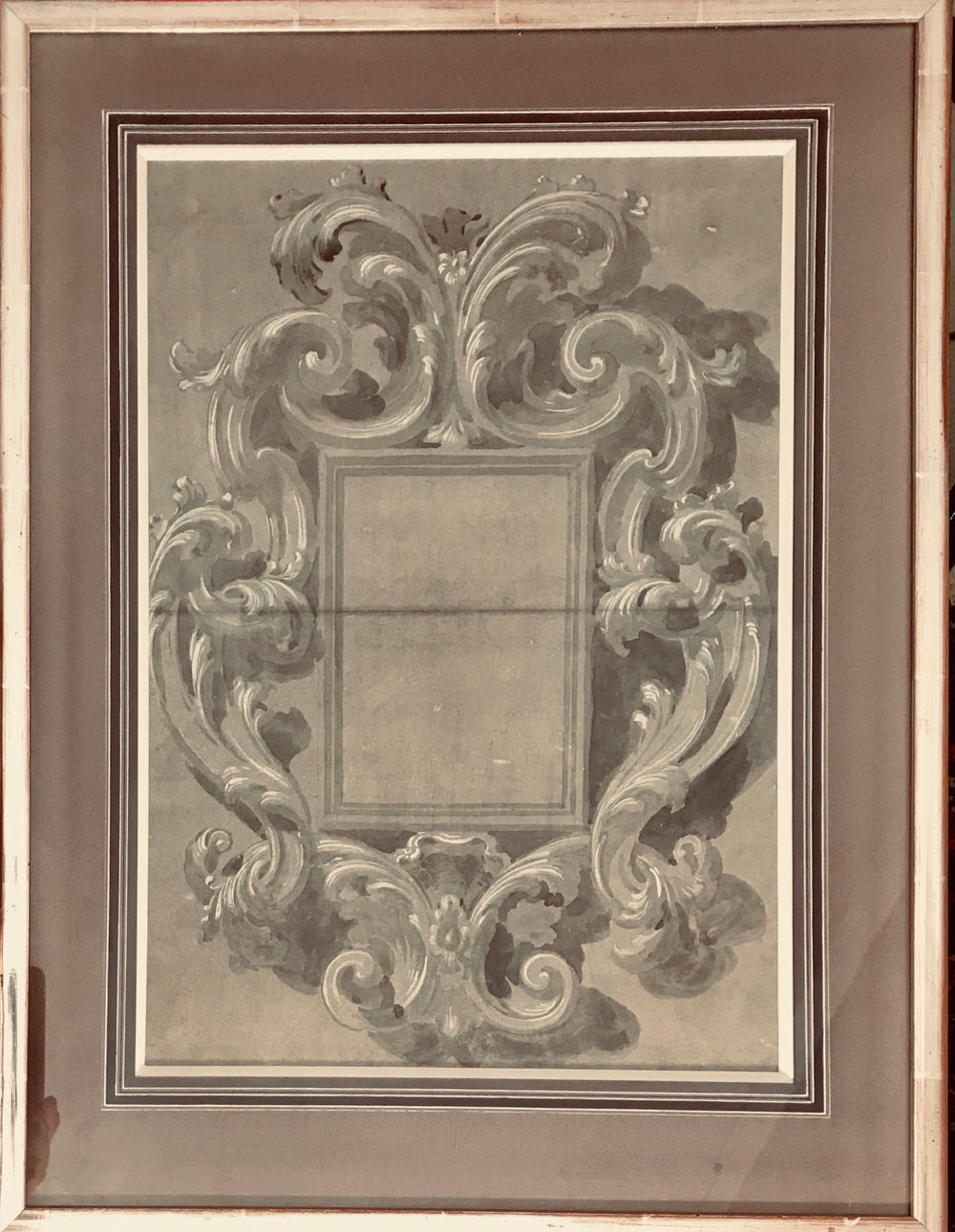 XVIIth Century Drawing for elaborately carved Florentine Mirror Frame.