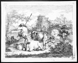 Francesco Londonio four Etchings Shepherds - sheep, dogs, cows and horses