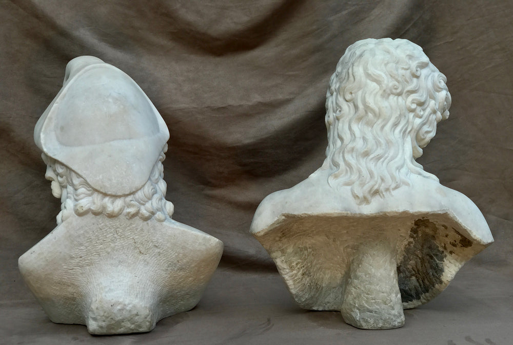GRAND TOUR MARBLE MARBLE BUSTS OF EROS DI CENTOCELLE and GANYMEDE