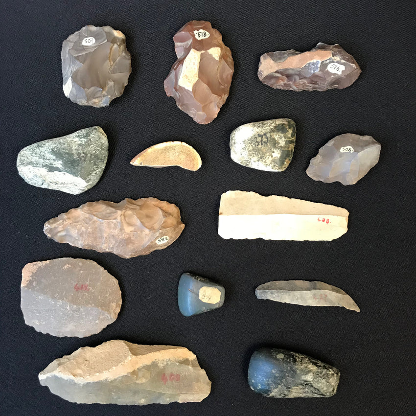 A GROUP OF 14 PALEOLITHIC AND NEOLITHIC STONES Antique collection
