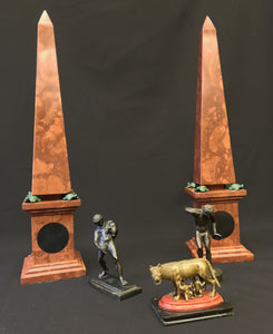 A PAIR OF ITALIAN 'GRAND TOUR' ROSSO ANTICO OBELISKS