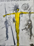 Günter Brus yellow Crucifixion Drawing - appleboutique-com