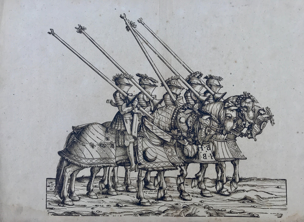 Five knights woodcut of Triumphal procession for Emperor Maximilian