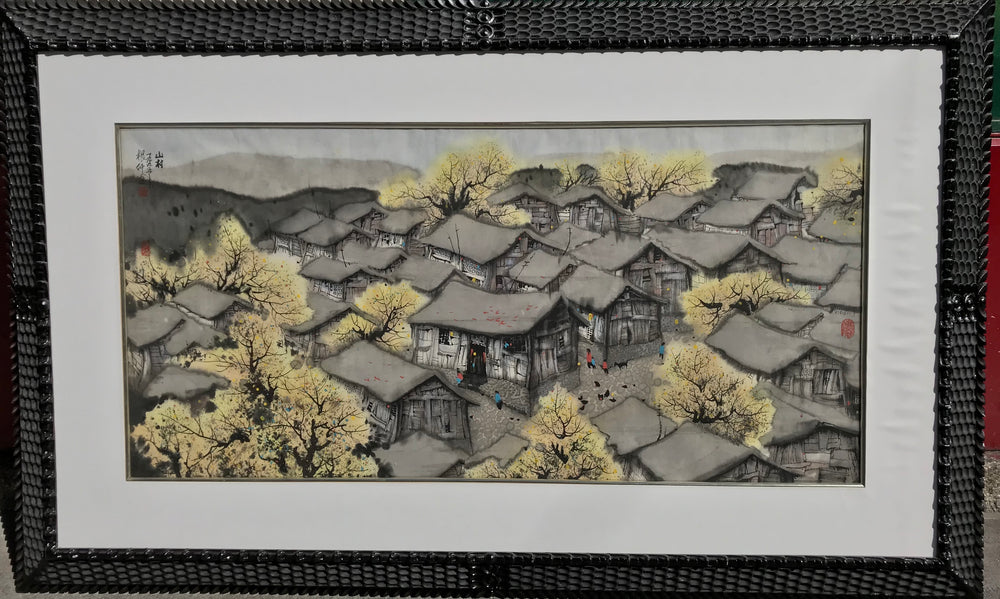 HUO GENZHONG 霍根仲 (1939-2000)Village in the countryside - appleboutique-com