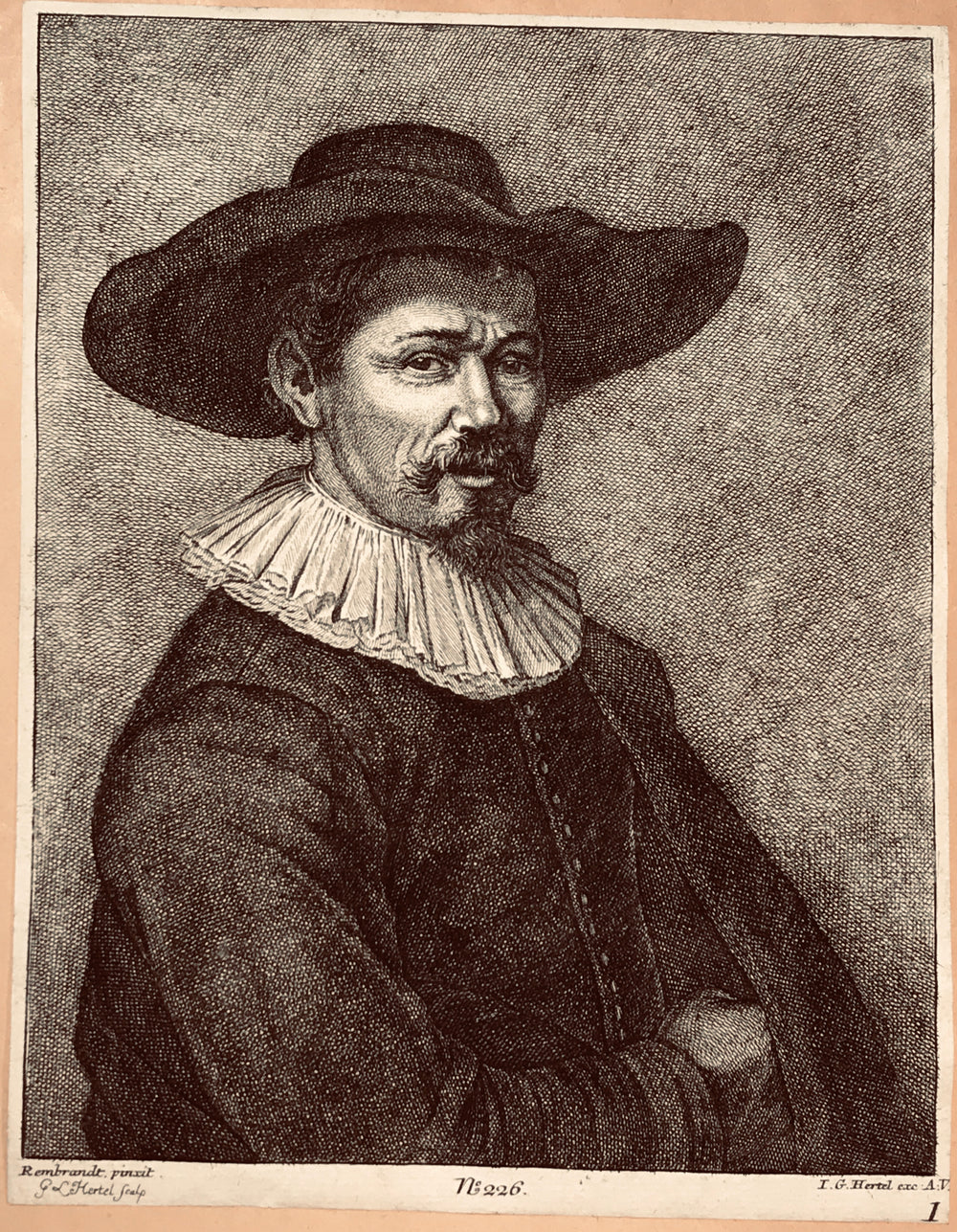 Portrait of Herman Doomer by Johann Georg Hertel After Rembrandt