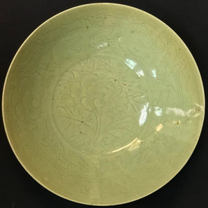 LONGQUAN CELADON CARVED 'PEONY' DISH YUAN – EARLY MING DYNASTY