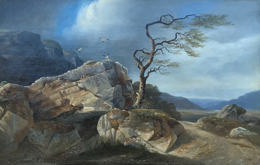 romantic landscape of a Wind-Beaten Tree