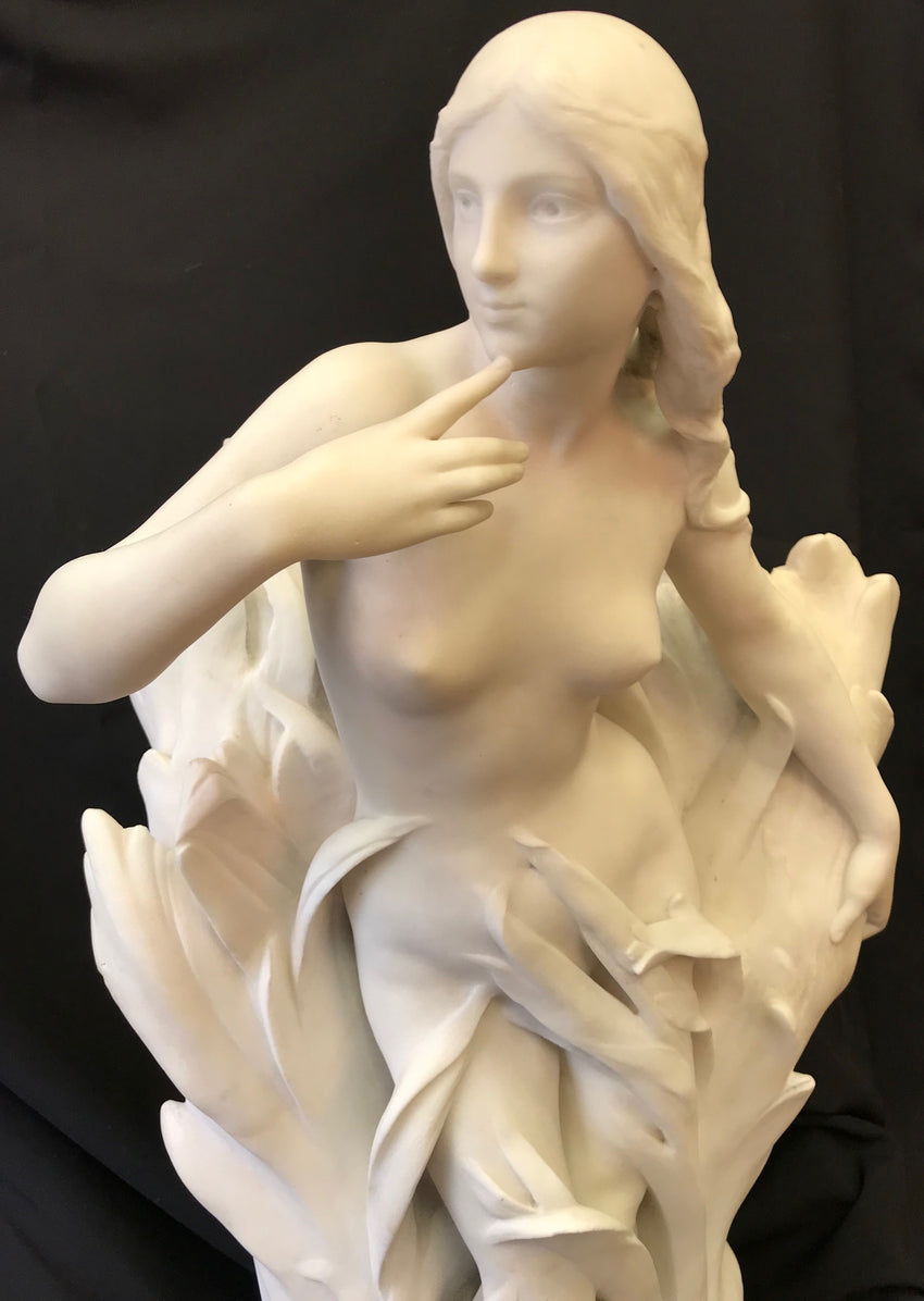 Statue of Syrinx in reeds,  Carrare marble, signed on the base L. Madrassi Paris