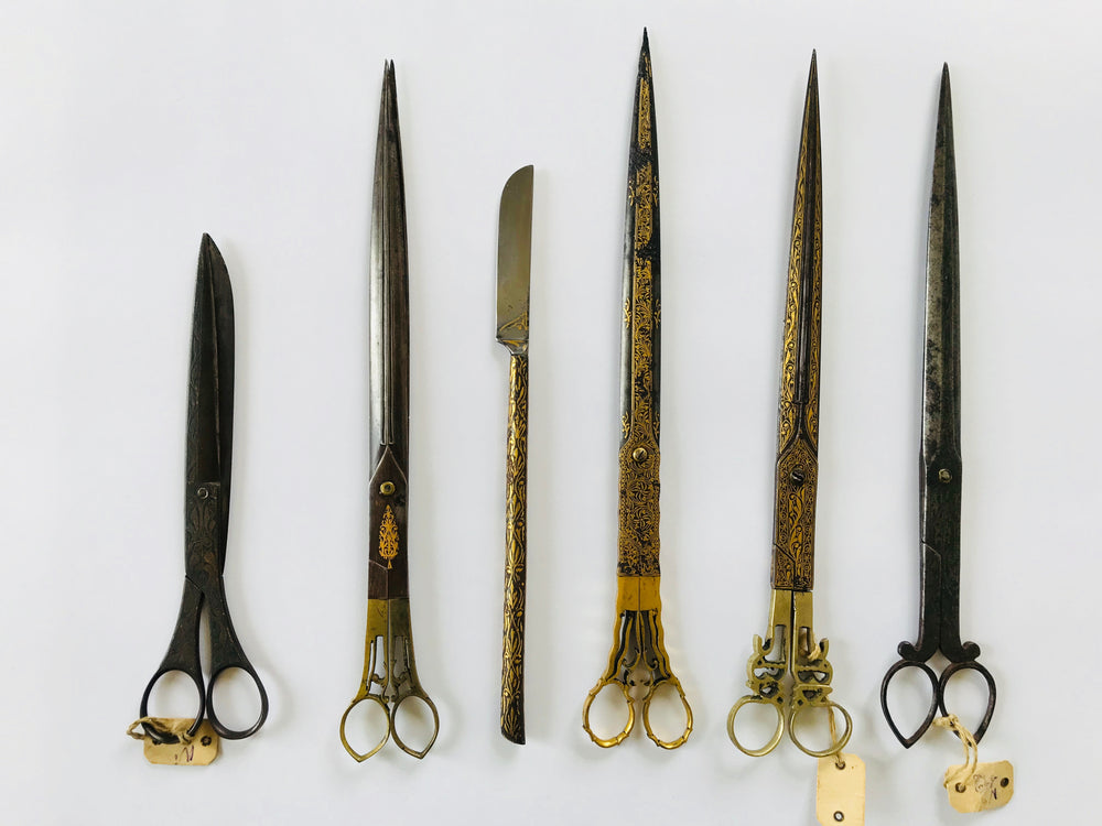 Ottoman Calligrapher's Gold Inlaid Scissors And penknive - appleboutique-com
