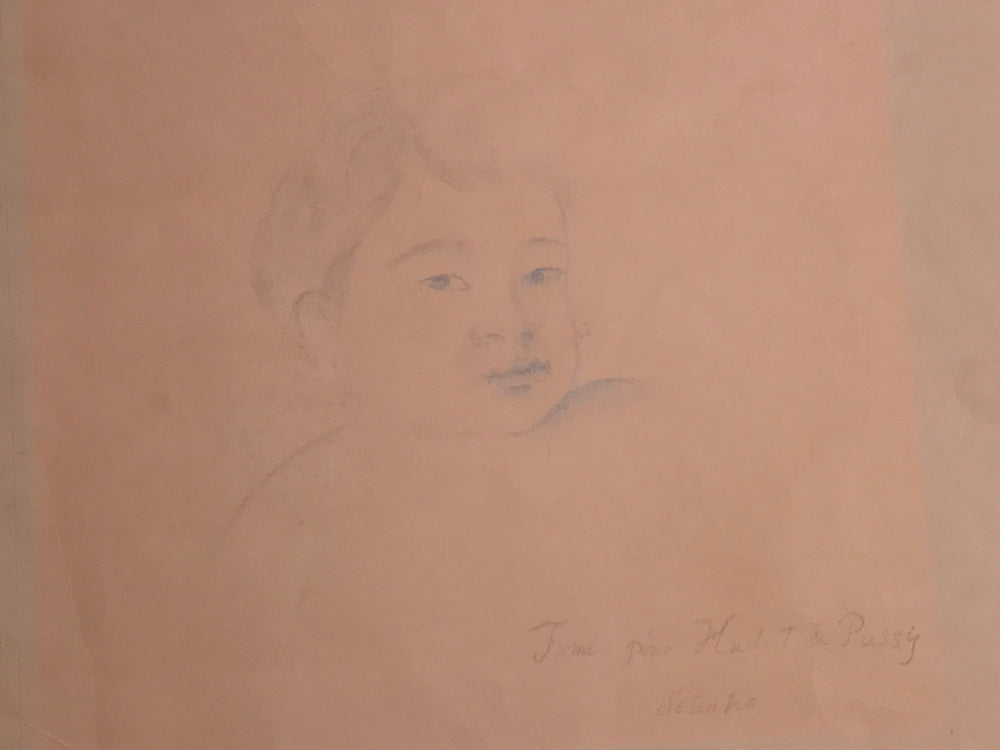 Portrait drawing of Fumio son of Balthus by Setsuko Klossowska de Rola
