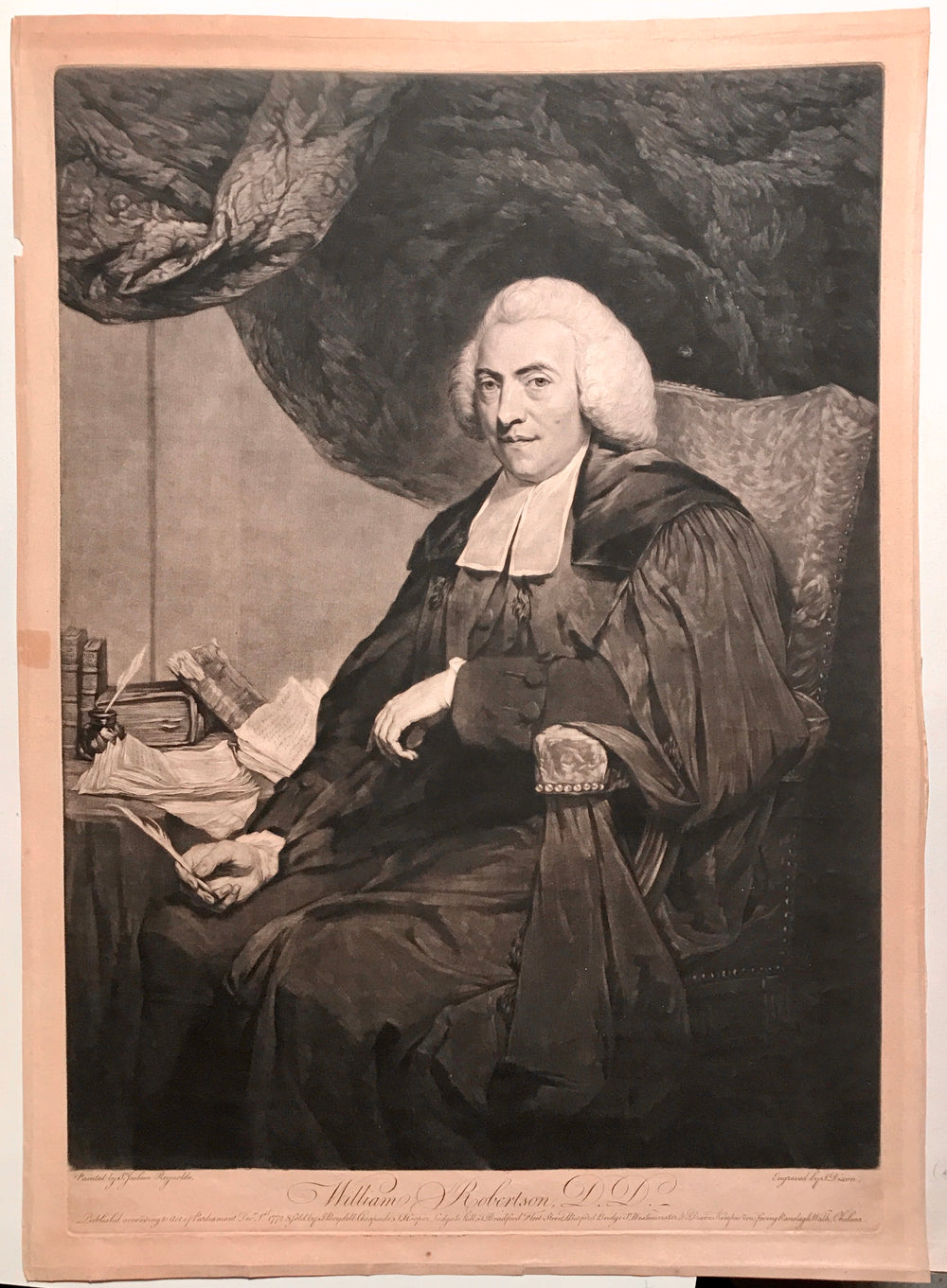 Print, mezzotint, William Robertson DD (1721-1793) (after Sir Joshua Reynolds)