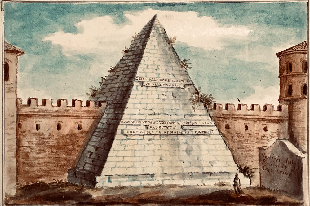 THE PYRAMID OF CESTIUS, ROME. Old Master Drawing