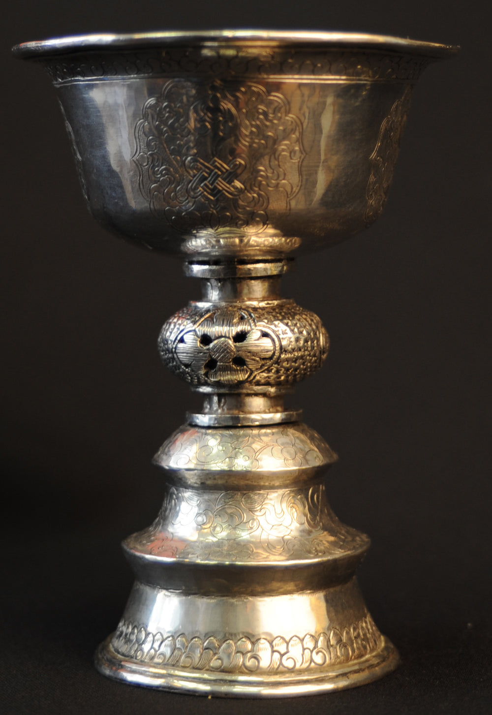 A Tibetan silver butter lamp 19th century - appleboutique-com