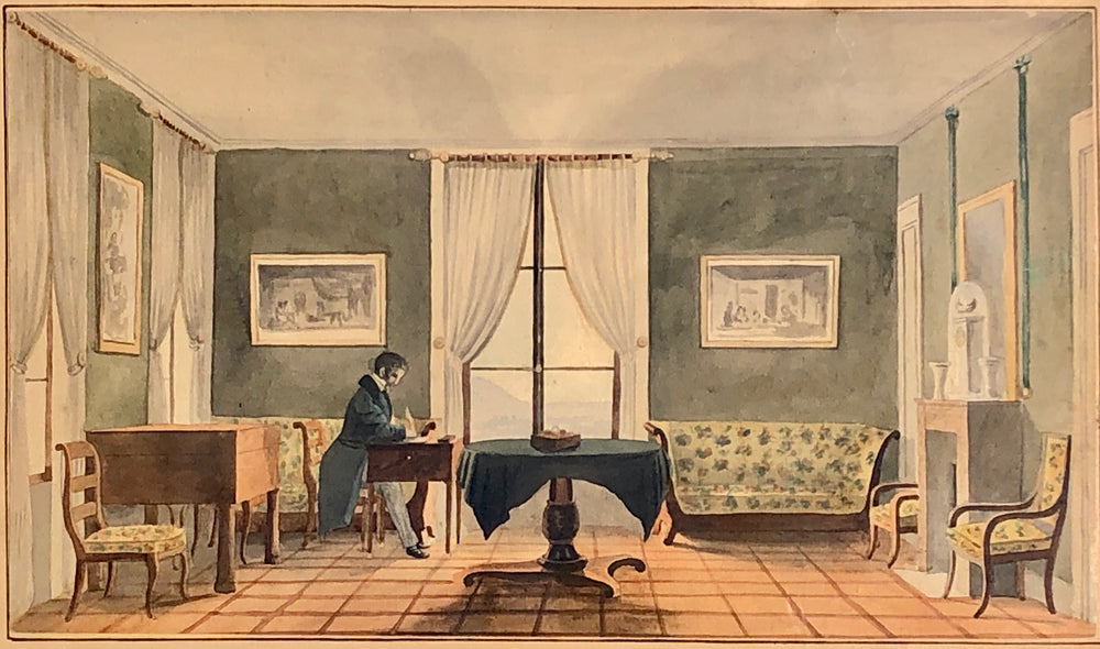"Old Master Drawing ""Salon de Mr Gautier"" Villa at Cologny"