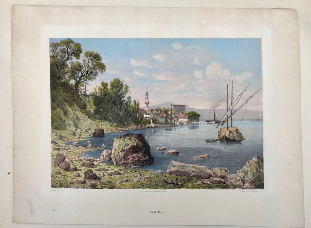 Yvoire - Lac Leman - Hand colored Lithograph
