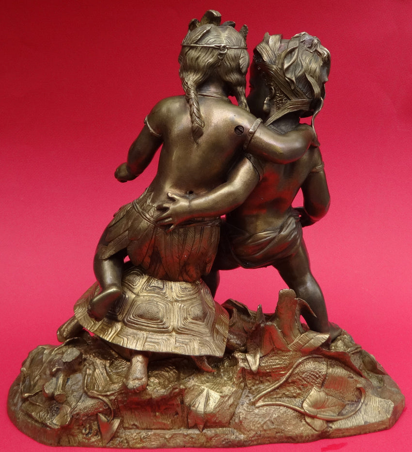 AFRICA AND AMERICA STATUETTE CHERUBS AND A TURTLE - appleboutique-com