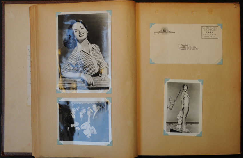 Antique Celebrity Americana Scrapbook filled with photographs, autographs, and correspondences between young Deanna Fisher and some of the most famous names of the age including Elizabeth Taylor, Fred Astaire, Liberace, President Eisenhower and his wife, and many others.