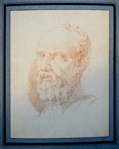 Portrait of Aristotle 18th century French Sanguine - appleboutique-com