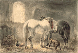 Horses in the Stables by Wouterus Verschuur - appleboutique-com