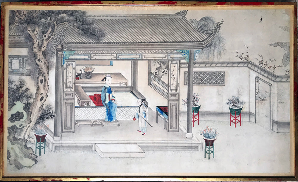 Lady in an opium house Chinese Watercolor - appleboutique-com