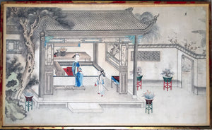 opium, house, pipe, chinese, watercolor, drawing, rare, empress