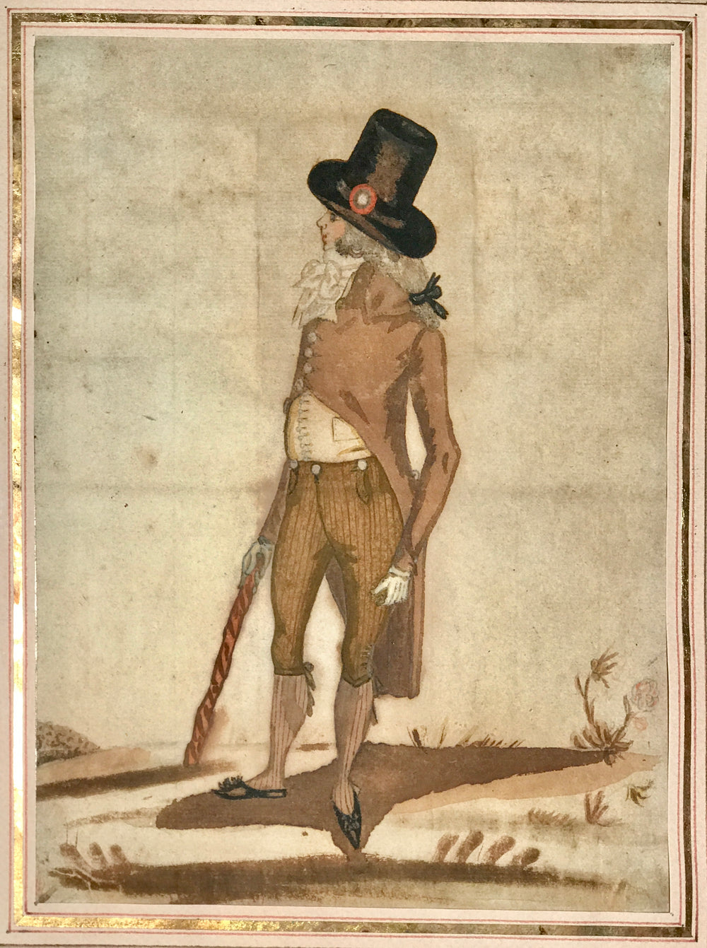 Drawing of a Représentant du Peuple wearing top hate cockade and his twisted cane.