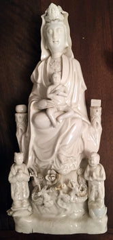 Seated Guanyin with Child and two companions, China, Dehua, Qing Dynasty