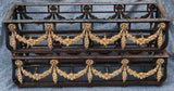 Pair of Large Cast Iron Louis XVI style jardinieres, gilt bronze flower garlands.