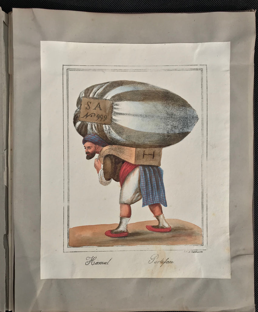 LEVANTINE ALBUM OF LITHOGRAPHY COSTUME PLATES BOGOS TATIKIAN