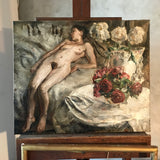 Early 20th century painting  Reclining nude with flowers in a vase