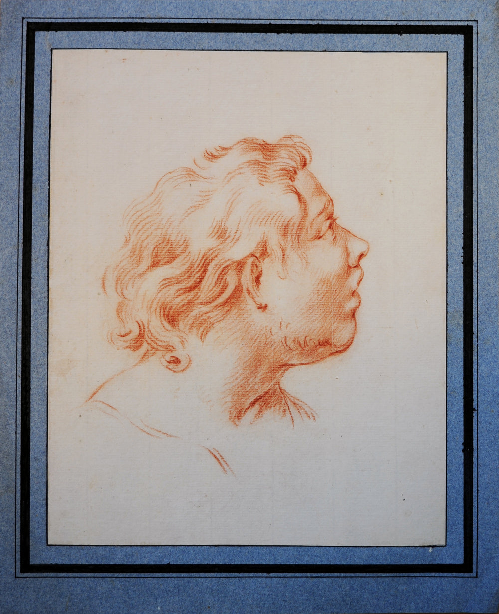 French Sanguine Head of a male figure 18th Century - appleboutique-com