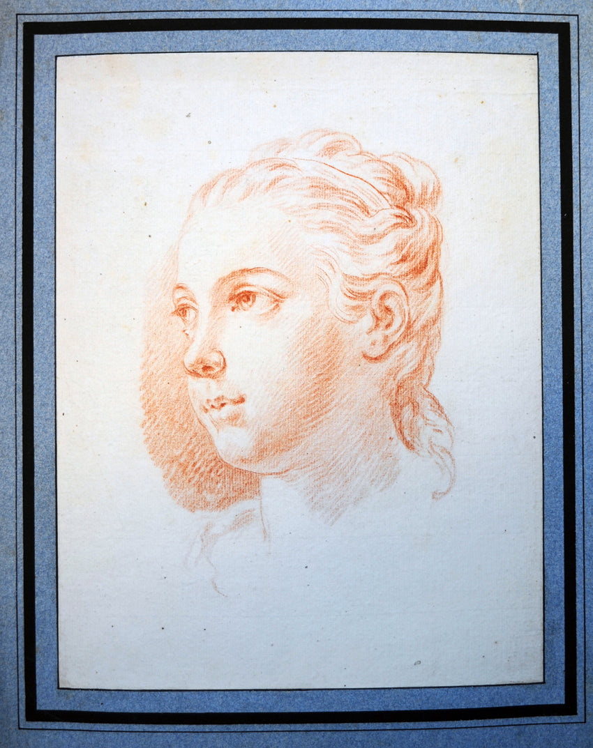 Old Master Drawing Head of a Young Girl