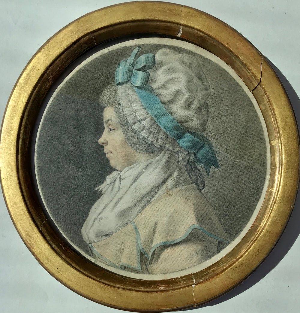 Lady portrait wearing a lace cap and blue ribbon 18th century drawing Trois Crayons