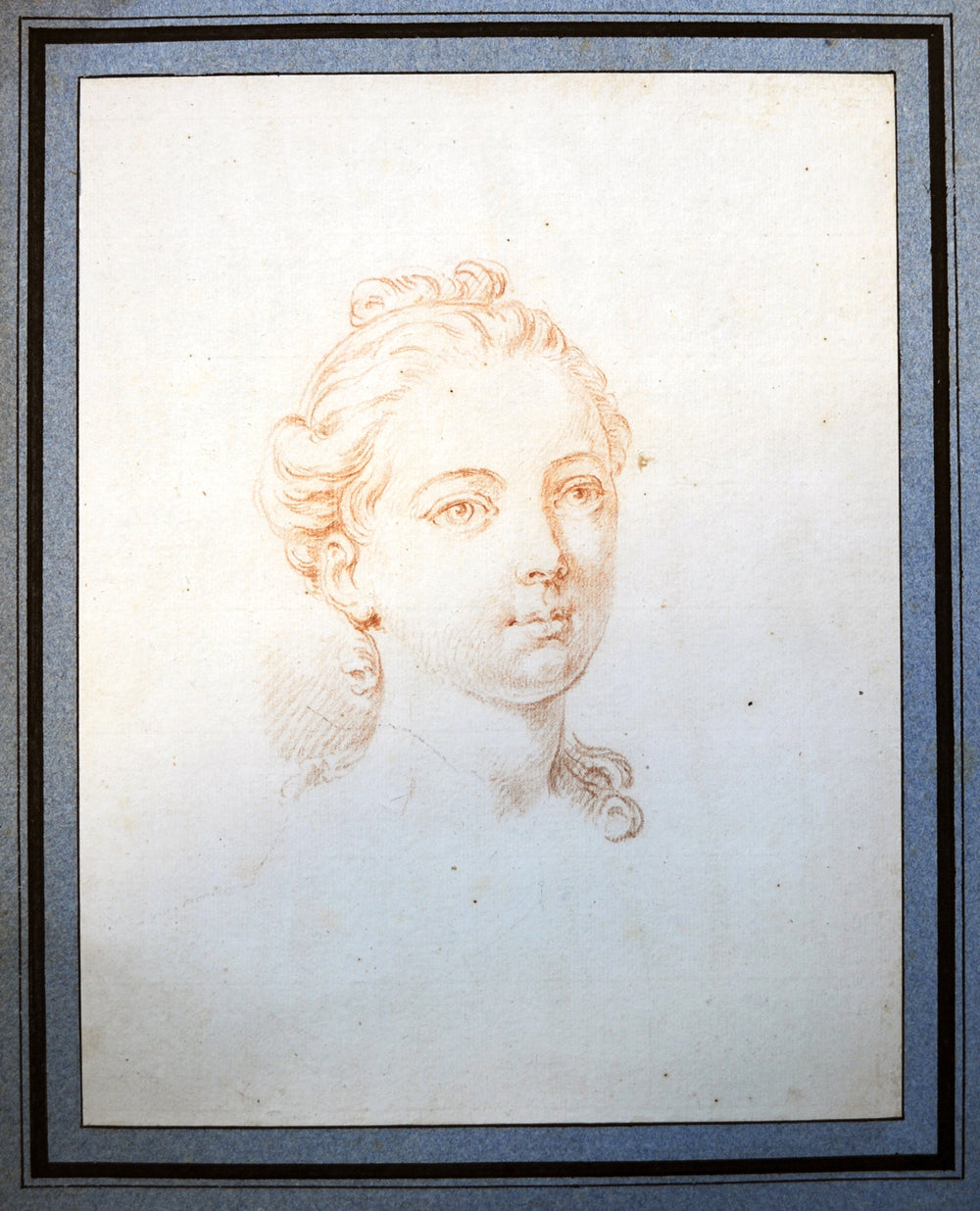 French Sanguine Head of a Young Girl 18th Century - appleboutique-com
