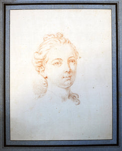 French old master drawing Portrait of a Young Girl 18th Century