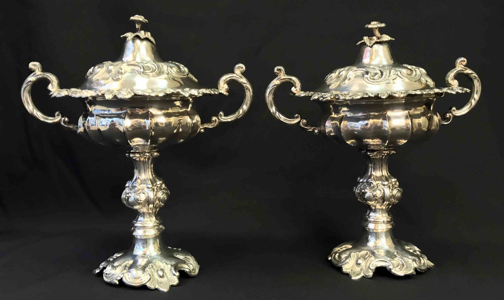 Pair of silver handled standing cups and covers - appleboutique-com