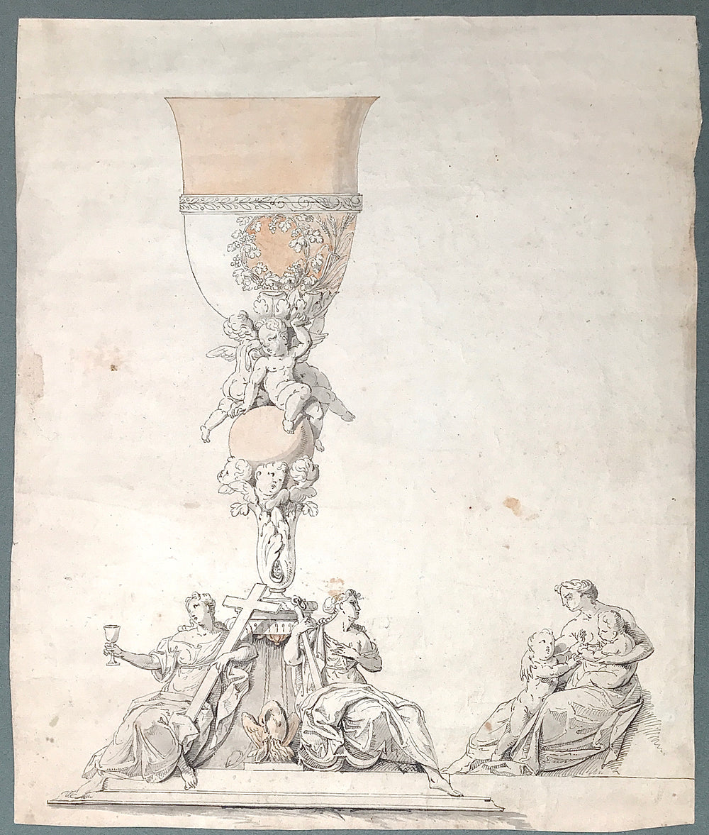A silver and gold chalice project drawing with Faith, Hope And Love or Faith, maternity and Christianity, Phoenix, Putti, wines and wheat.