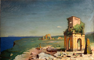 A.T. HODGKISS, Grand Tour Painting, View with Temple Ruins and Pyramid - appleboutique-com