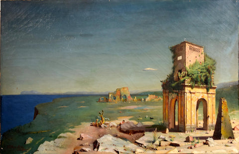 A.T. HODGKISS, Grand Tour Painting, View with Temple Ruins and Pyramid