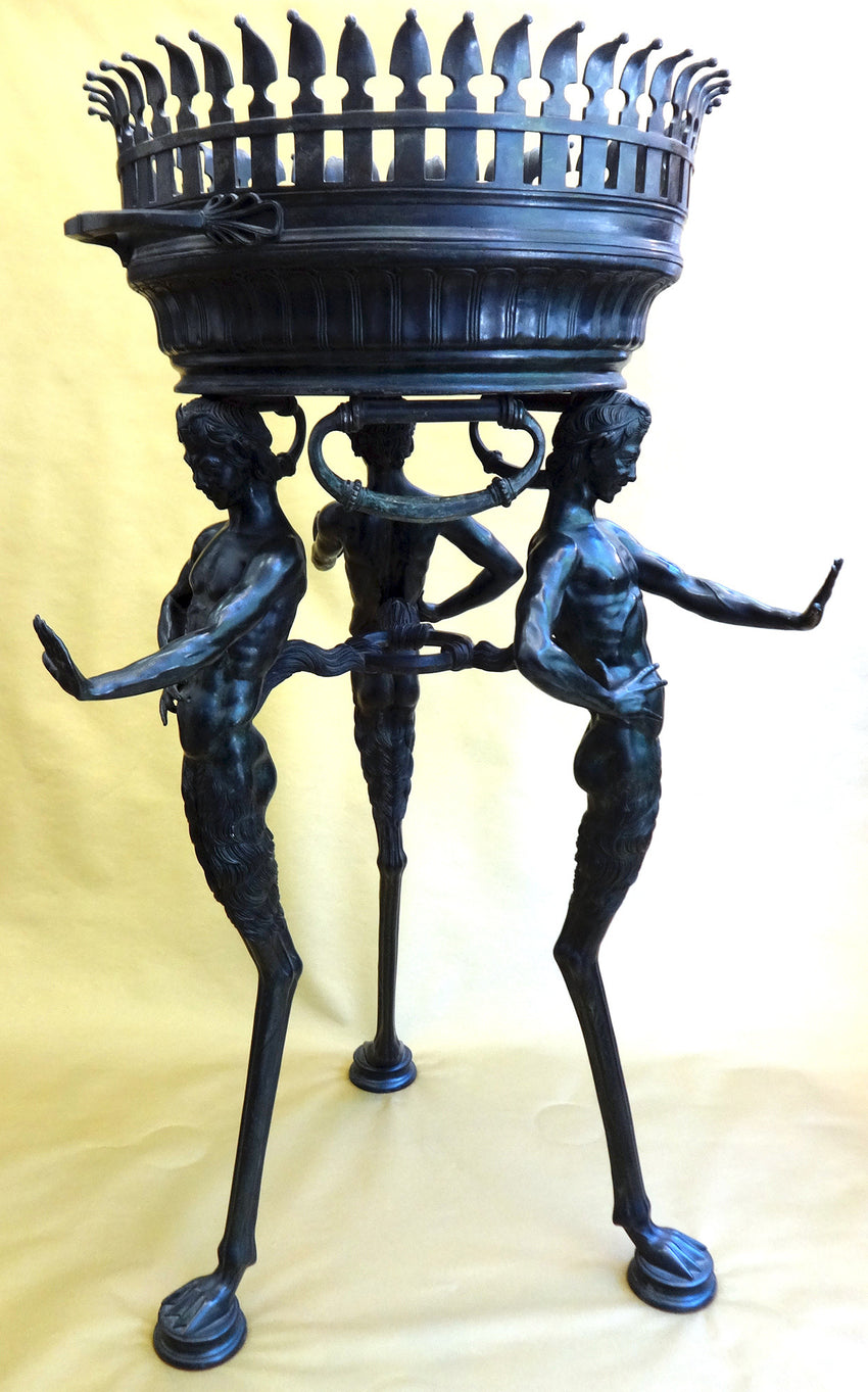 AN ITALIAN BRONZE JARDINIERE AFTER THE ANTIQUE, BY SABATINO DE ANGELIS & FILS