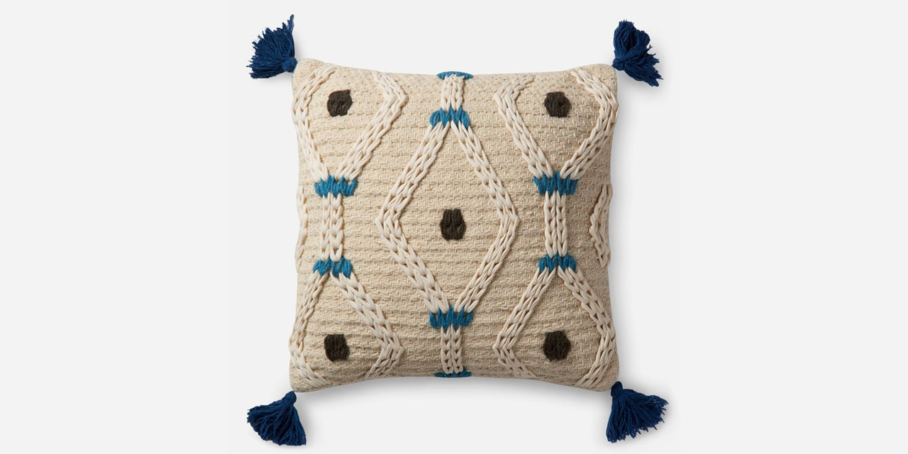 Blue Pom Pom Pillow (2)