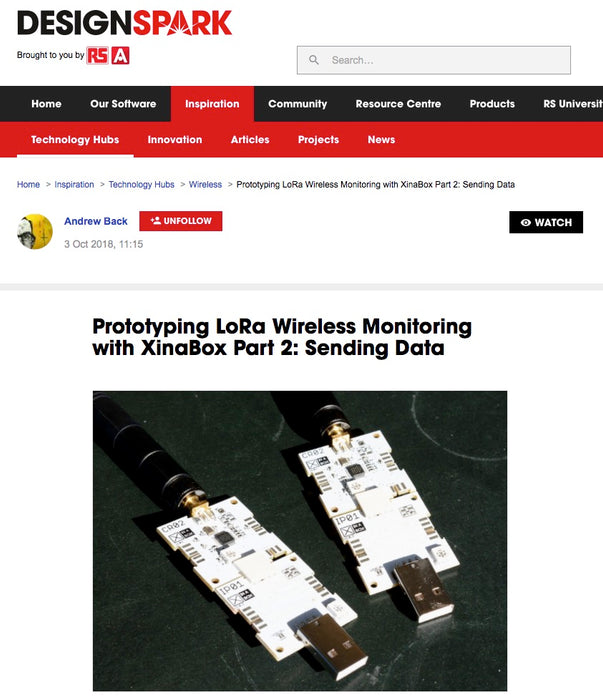 RS DesignSpark: Rapid prototyping a long-range wireless sensor system with XinaBox