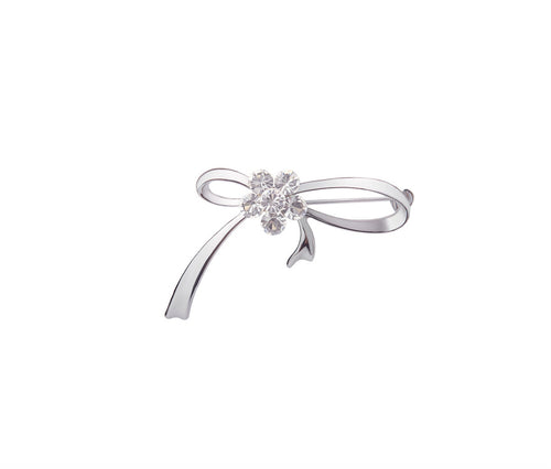 Metal, Six Glass Stone Ribbon Brooch