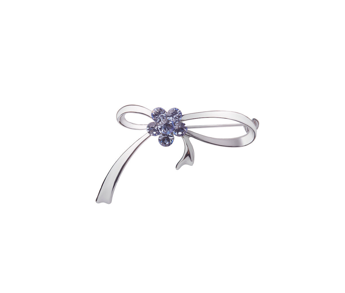 Metal, Six Lavender Glass Stone Ribbon Brooch