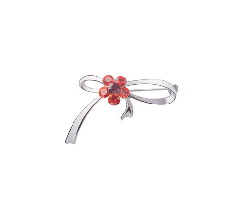 Metal, Six Red Glass Stone Ribbon Brooch