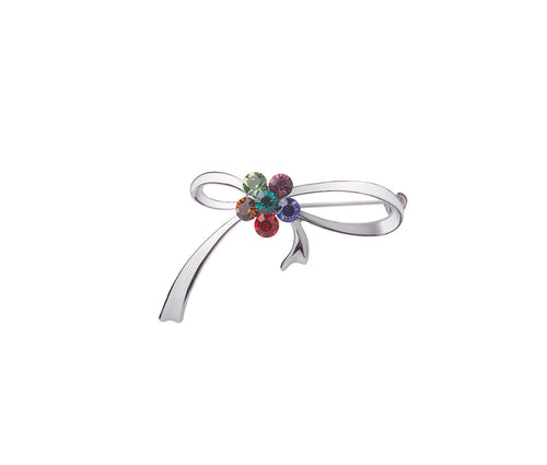 Metal, Six Multicolour Glass Stone Ribbon Brooch