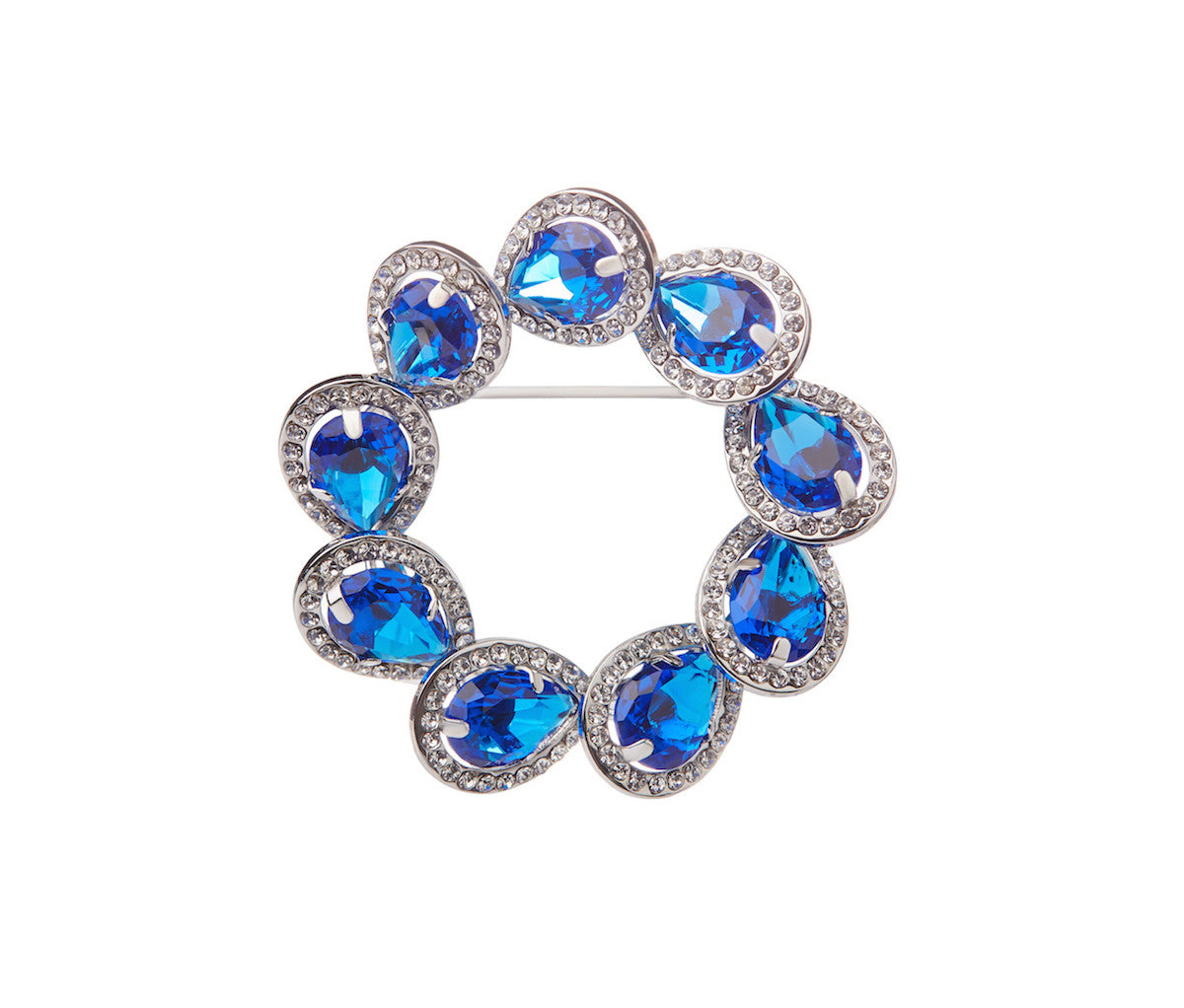 Blue Glass Circle Teardrop Brooch